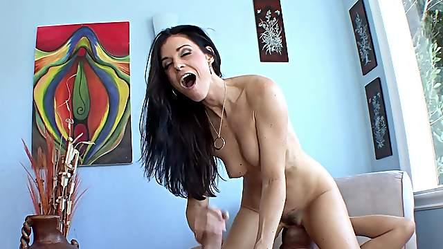 Skinny brunette fucked rough anal sex